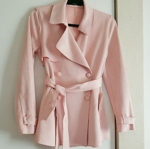 Soft Suede Baby Pink F21 Trench Coat NWOT